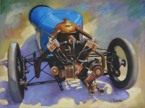 """""""la Morgan bleue 3 roues de 1927"""" huile sur toile 60 cm x 81 cm"""