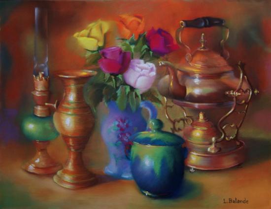 """"""" Le samovar """" pastel sec 50 cm x 65 cm"""
