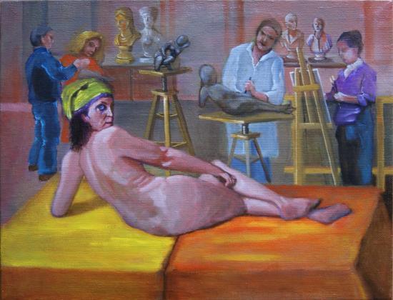 """"""" Dans l'atelier du sculpteur """"  huile sur toile 50 cm x 65 cm"""
