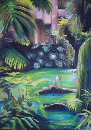 """""""cours d'eau en sous-bois"""" huile sur toile 50 cm x 70 cm"""