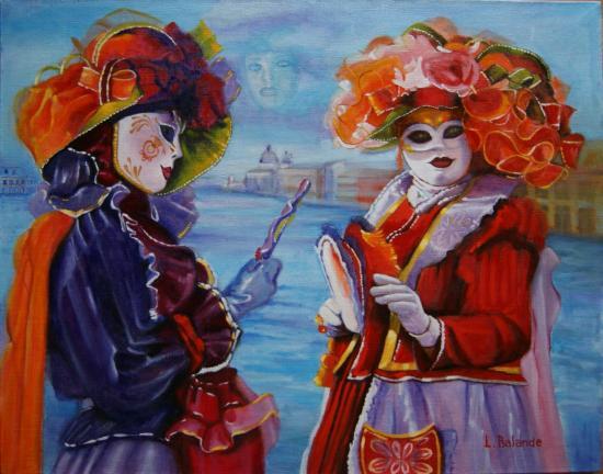""""""" Carnaval de Venise """" huile sur toile 73 cm x 92 cm"""