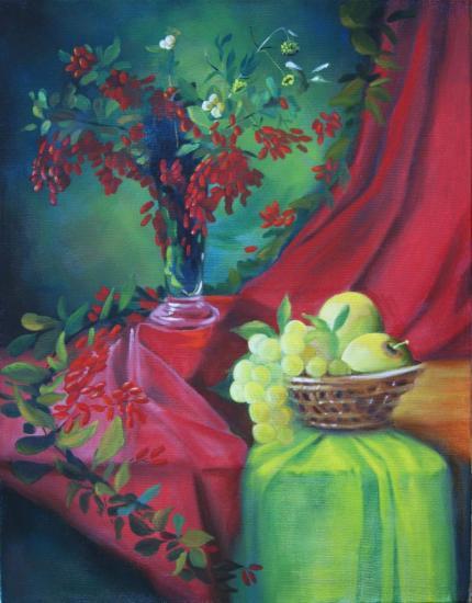 """"""" Le drapé rouge et vert """" huile sur toile 65 cm x 50 cm"""