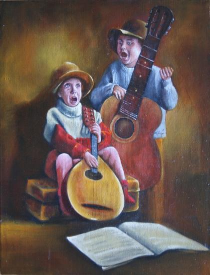 """"""" Les enfants musiciens et chanteurs """" huile sur toile 65 cm x 50 cm"""