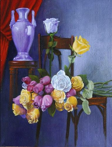 """"""" le bouquet de roses sur une chaise """" huile sur toile 65 cm x 50 cm"""