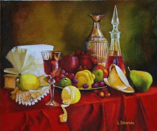 """"""" Carafe et fruits """" huile sur toile 46 cm x 55 cm"""
