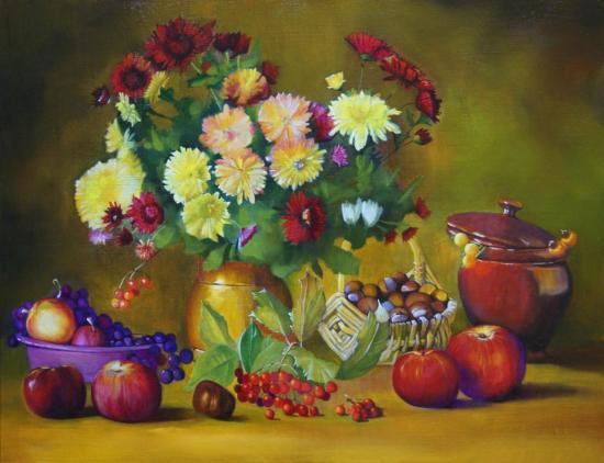 """"""" Bouquet et fruits """" huile sur toile 50 cm x 65 cm"""