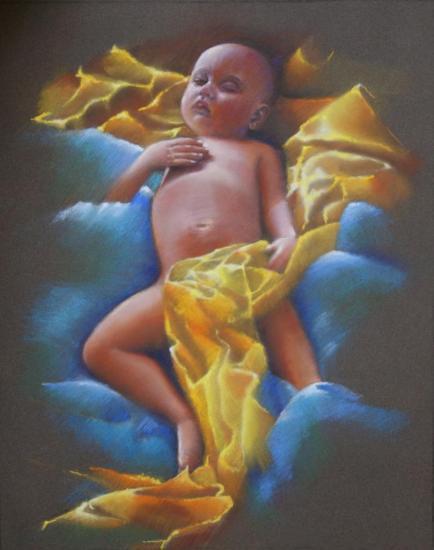 """"""" Le sommeil de Damien """" pastel sec 50 cm x 40 cm"""