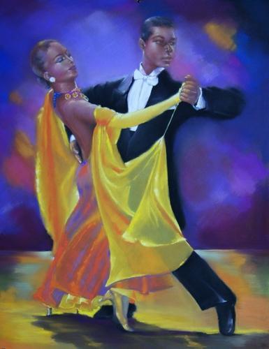 """"""" Les danseurs de tango """" pastel sec 65 cm x 50 cm"""
