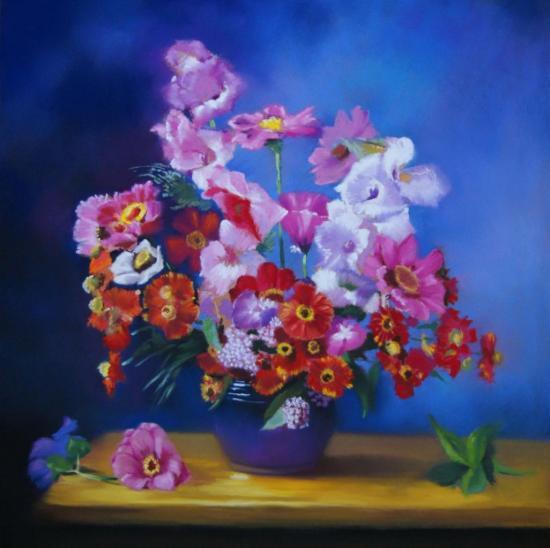 """"""" Le bouquet multicolore """" pastel sec 50 cm x 50 cm"""