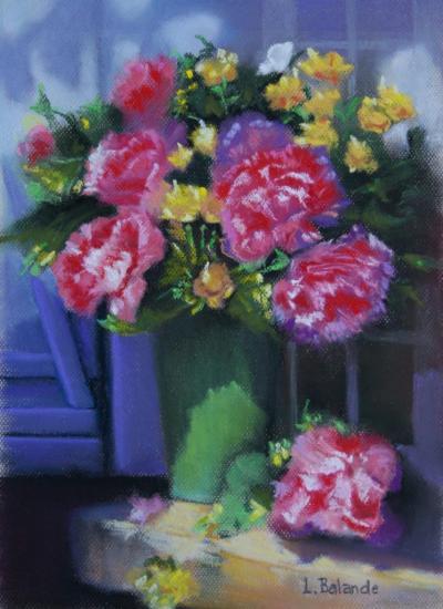 """pastel sec 40 cm x 30 cm """" le bouquet de pivoines """""""