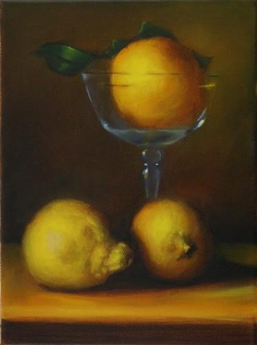 """"""" les citrons """" huile sur toile 24 cm x 18 cm"""