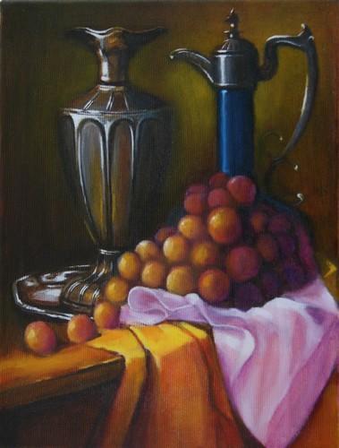 """"""" raisins et carafes """" huile sur toile 40 cm x 30 cm"""