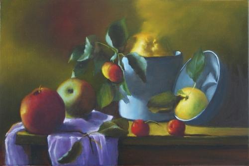 """"""" pommes rouges et jaunes """" huile sur toile 22 cm x 33 cm"""