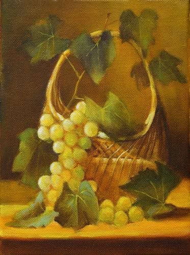 """"""" le panier de raisins """" huile sur toile 24 cm x 18 cm"""