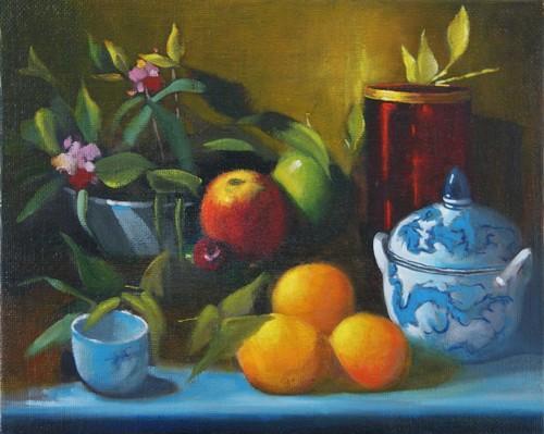 """"""" fruits """" huile sur toile 33 cm x 41 cm"""