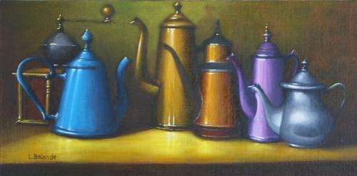 """"""" les cafetières émaillées"""" huile sur toile 30 cm x 60 cm"""