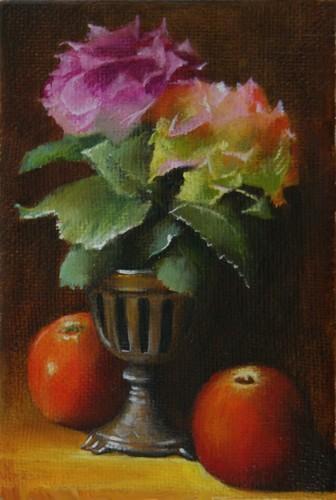 petite nature morte huile sur toile  24 cm x 16 cm