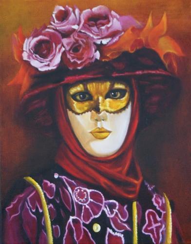 """""""le masque de Venise ivoire"""" huile sur toile 41 cm x 33 cm"""