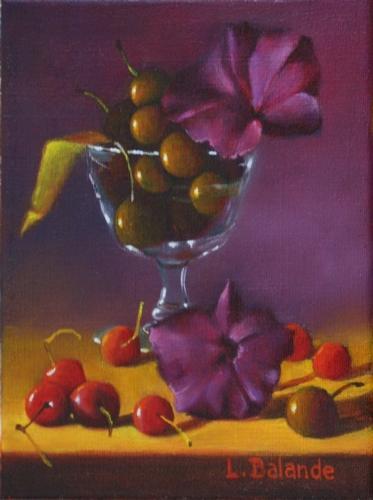 """""""cerises et hibiscus"""" huile sur toile 24 cm x 18 cm"""