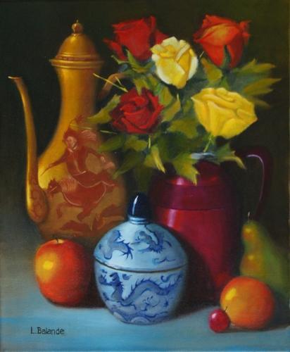 """""""bouquet de roses et chinoiseries"""" huile sur toile 46 cm x 38 cm"""