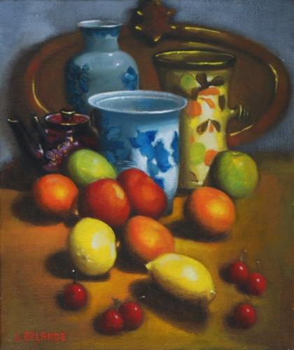"""""""nature morte au vase bleu"""" huile sur toile 55 cm x 46 cm"""
