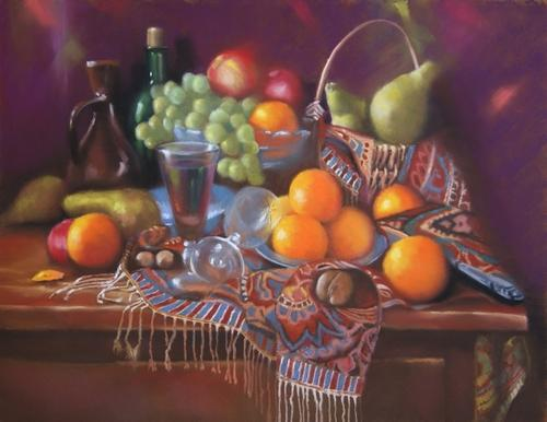 """composition de fruits sur un tapis"" pastel sec 50 cm x 65 cm"