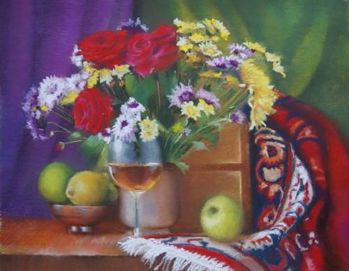 """"""" composition bouquet de fleurs et fruits """" pastel sec 40 cm x 50 cm"""