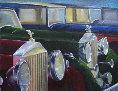 """"""" les calandres de Rolls Royce """" huile sur toile 50 cm x 65 cm"""