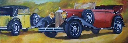 """""""les Maybach de 1931"""" huile sur toile 40 cm x 120 cm"""