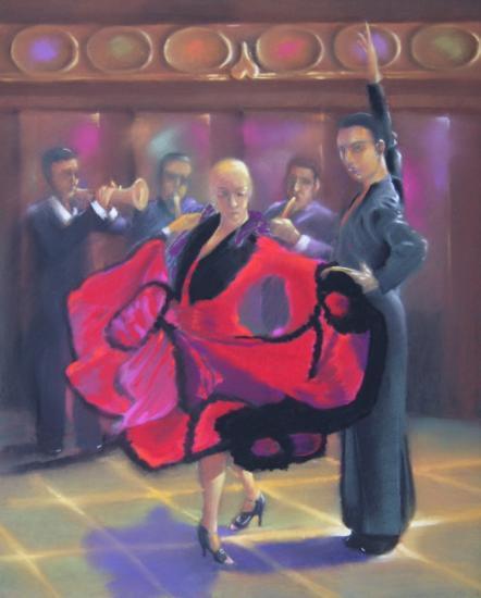 """""""couple dansant le paso doble"""" pastel sec 50 cm x 40 cm"""