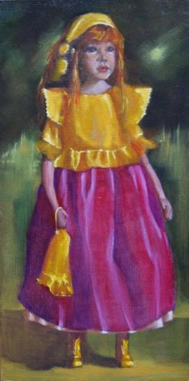 """"""" la grande poupée debout """" huile sur panneau 60 cm x 30 cm"""