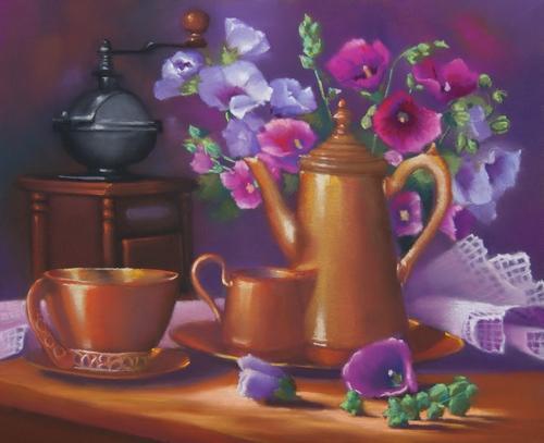 """""""vieux cuivres et bouquet"""" pastel sec 50 cm x 40 cm"""