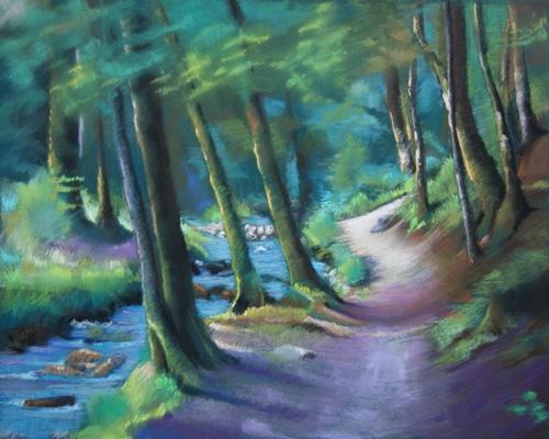 """""""sentier dans le Vercors"""" pastel sec 50 cm x 65 cm"""