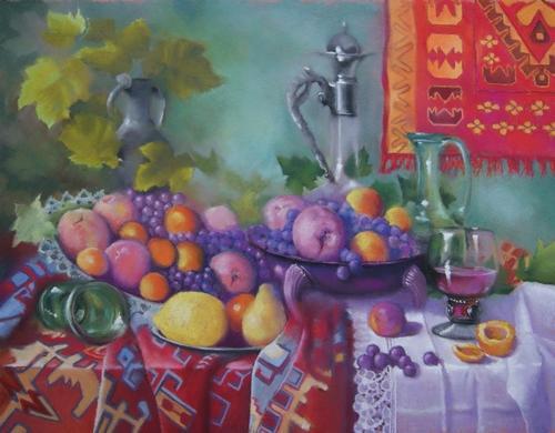 """""""fruits et carafes"""" pastel sec 65 cm x 85 cm"""