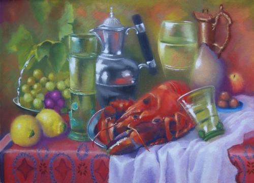 """""""homard aux citrons"""" pastel sec 50 cm x 70 cm"""