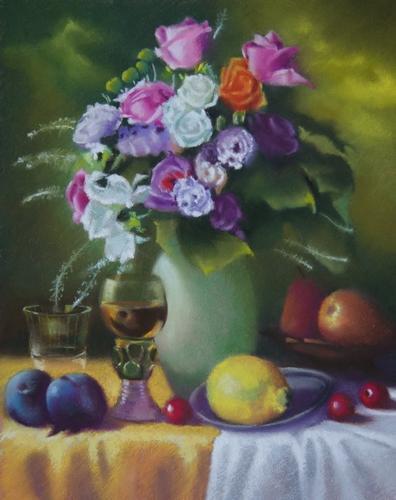 """""""composition de fleurs et fruits"""" pastel sec 50 cm x 40 cm"""