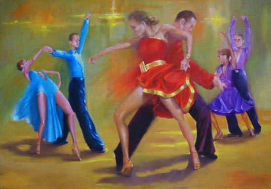 """""""3 couples dansent le paso-doble"""" huile sur toile 65 cm x 81 cm"""
