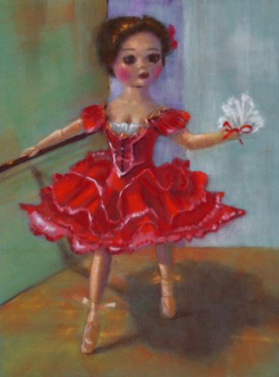 """"""" la danseuse en robe rouge """" pastel sec 40 cm x 30 cm"""