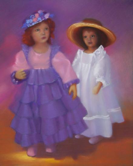 """"""" poupées avec leur chapeau """" pastel sec 50 cm x 40 cm"""