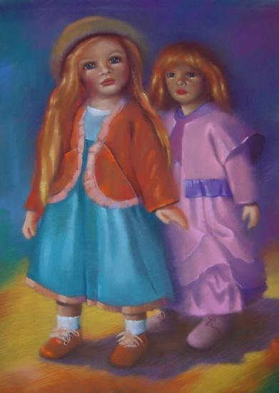 """"""" les grandes poupées """" pastel sec 70 cm x 50 cm"""