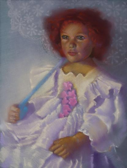 """"""" la poupée à l'ombrelle """" pastel sec 40 cm x 30 cm"""