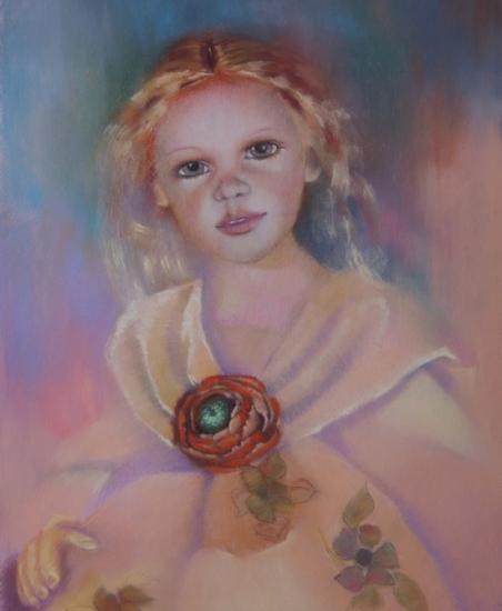 """"""" la grande poupée ancienne """" pastel sec 50 cm x 40 cm"""