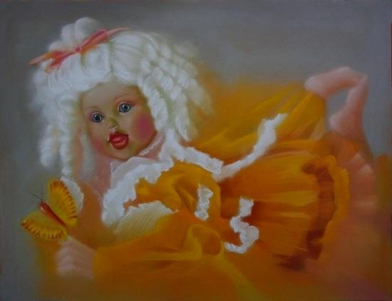 """"""" la poupée de porcelaine """" pastel sec 50 cm x 65 cm"""
