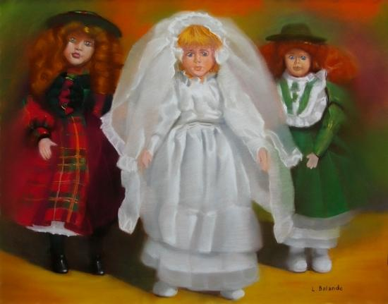 """"""" la poupée se marie """" pastel sec 50 cm x 65 cm"""
