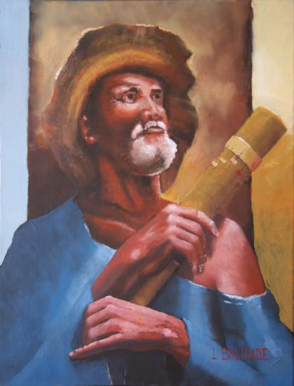""""""" le joueur de valihi """" huile sur toile 65 cm x 50 cm"""