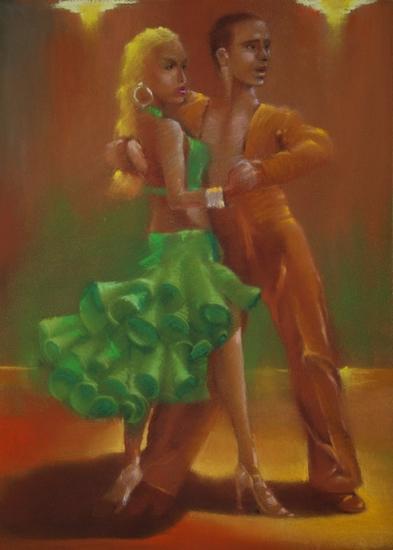""""""" les danseurs de paso """" pastel sec 40 cm x 30 cm"""