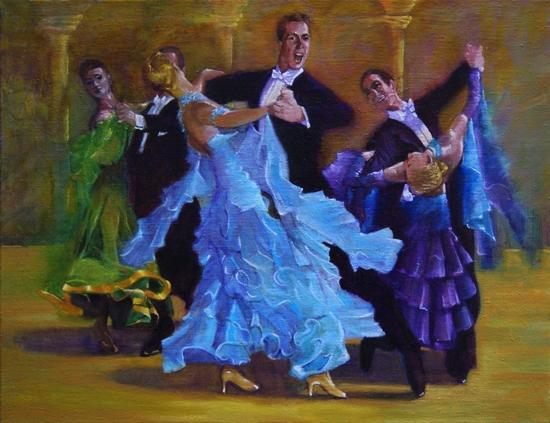 """"""" les danseurs de tango """" huile sur toile 50 cm x 65 cm"""