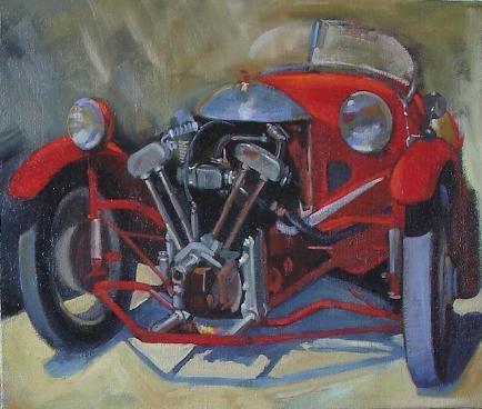 """"""" la Morgan rouge """" huile sur toile 50 cm x 65 cm"""