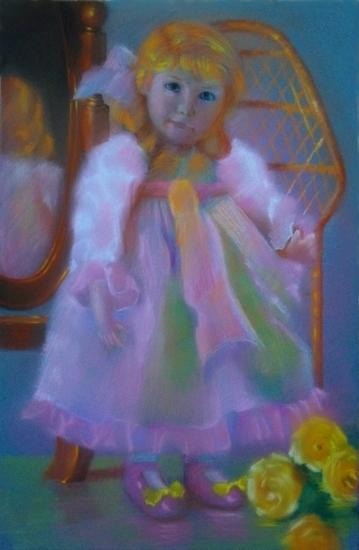 """"""" devant le miroir """" pastel sec 40 cm x 30 cm"""