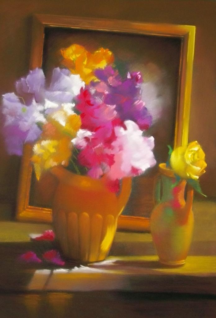 Le bouquet devant le miroir pastel sec 50 cm x 65 cm for Miroir 50 x 50 cm